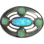 14k & Sterling Arts & Crafts Pin Opal & Jade
