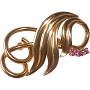 18k Rose Gold Sculptural Retro Pin w Rubies
