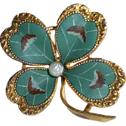 Antique Victorian Matte Enamel Four Leaf Clover Pin