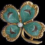 Antique Victorian Matte Enamel Four Leaf Clover Pin