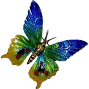 935 Sterling & Vitreous Enamel Colorful Butterfly Pin