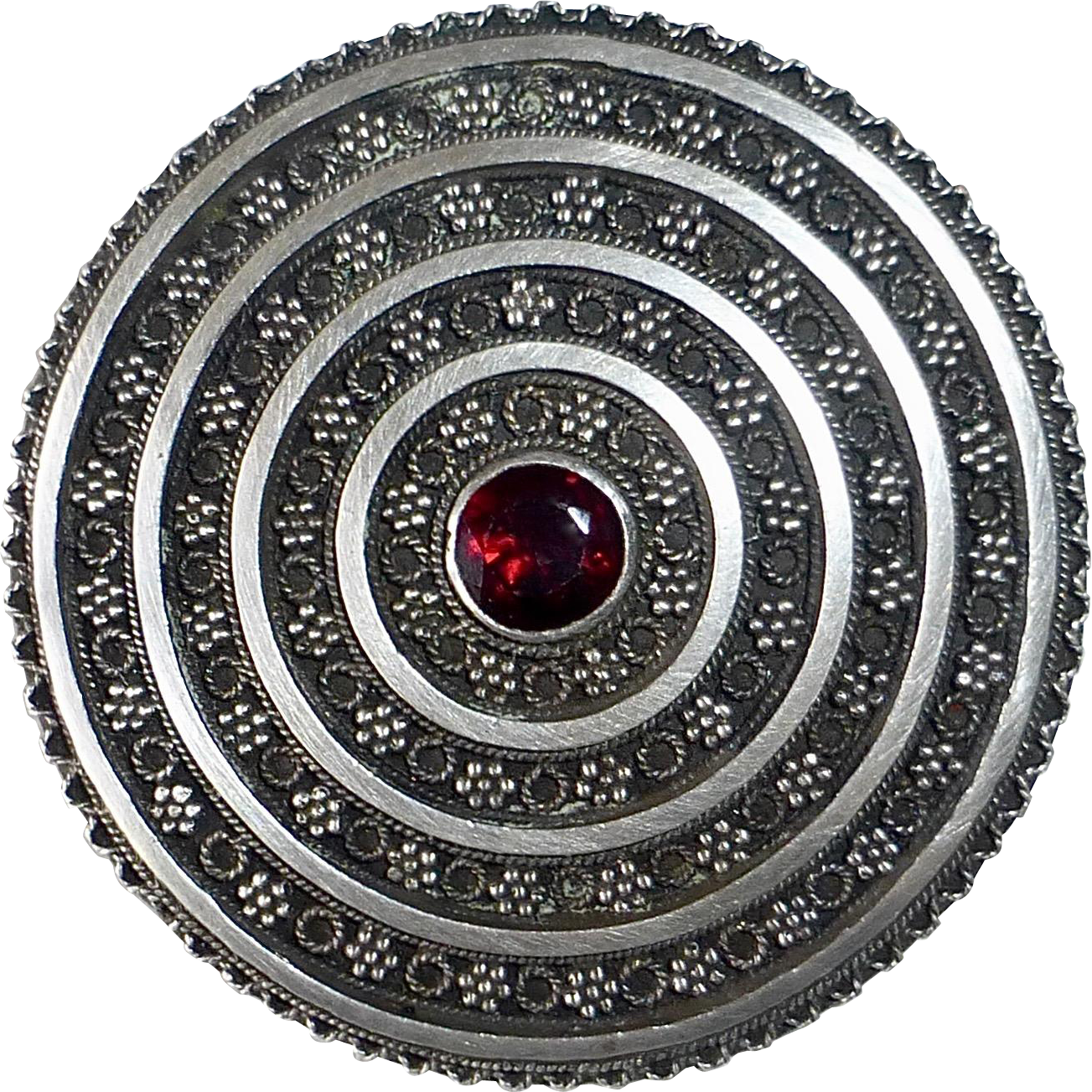 Palestine 935 Sterling Intricate Granulate Pin w Garnet
