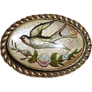 Art Deco Reverse Carved & Painted Glass Intaglio Bird in Flight Pin