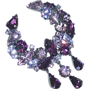 Austrian Rhinestone Crescent Pin with Drops in Shades of Purple