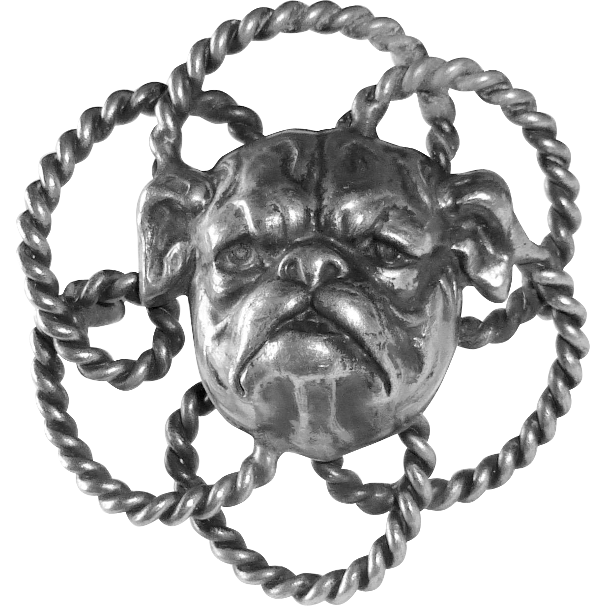 Art Deco Silver Plate Dimensional Bulldog Pin