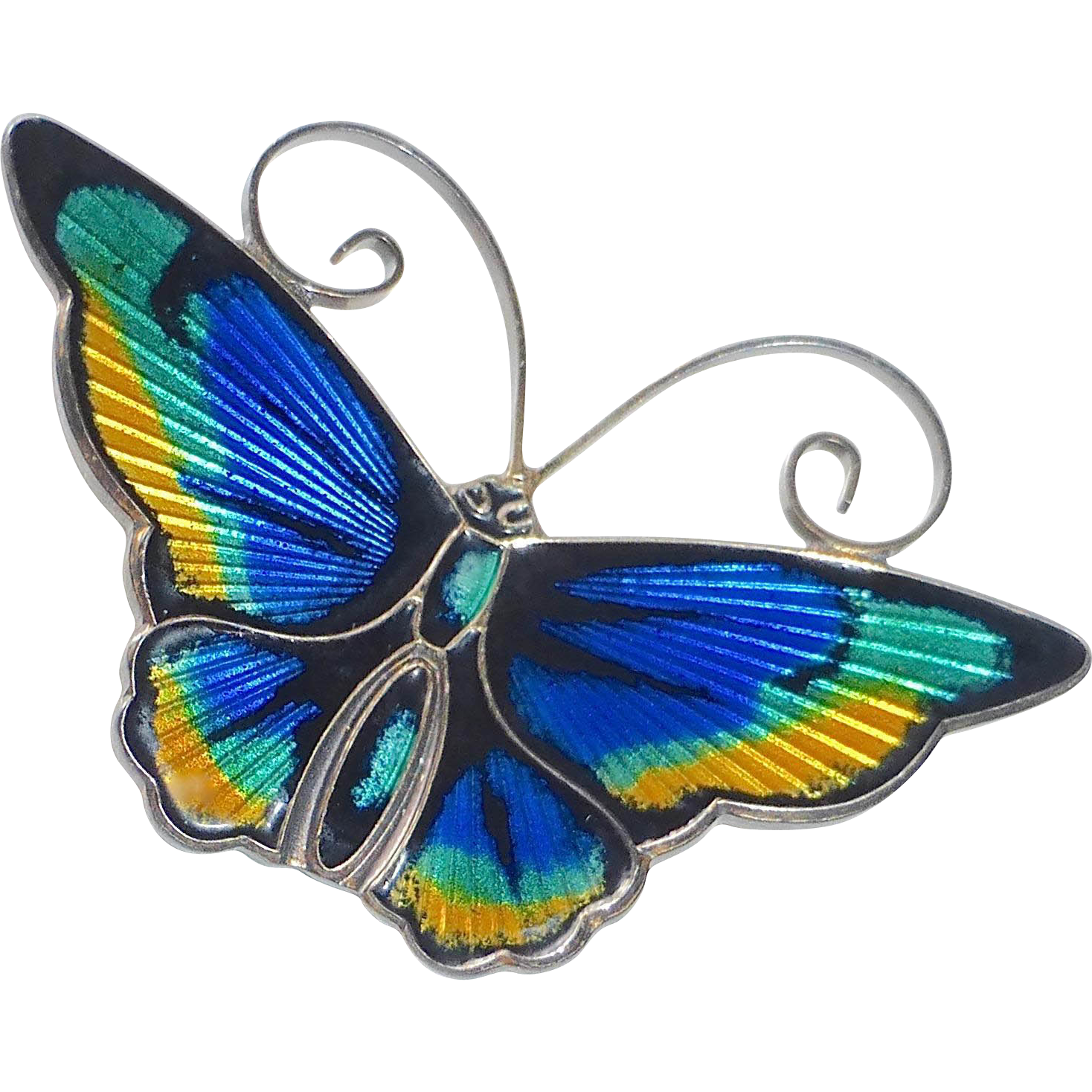 David Andersen Norway Sterling & Enamel Butterfly Pin