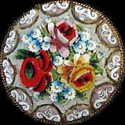 Italian Floral Mosaic Brass Pin
