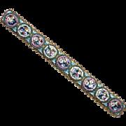Antique Italian Brass & Micro Mosaic Bar Pin