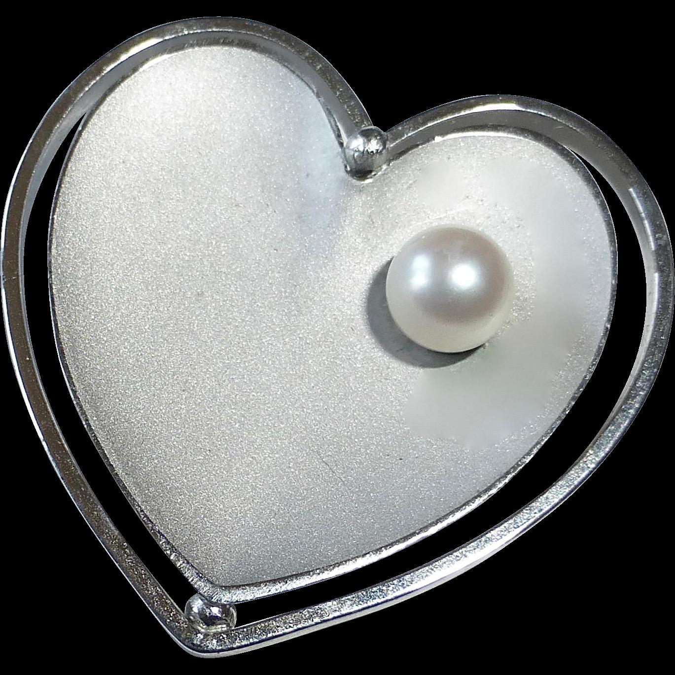 Krementz WGF Double Heart w Cultured Pearl