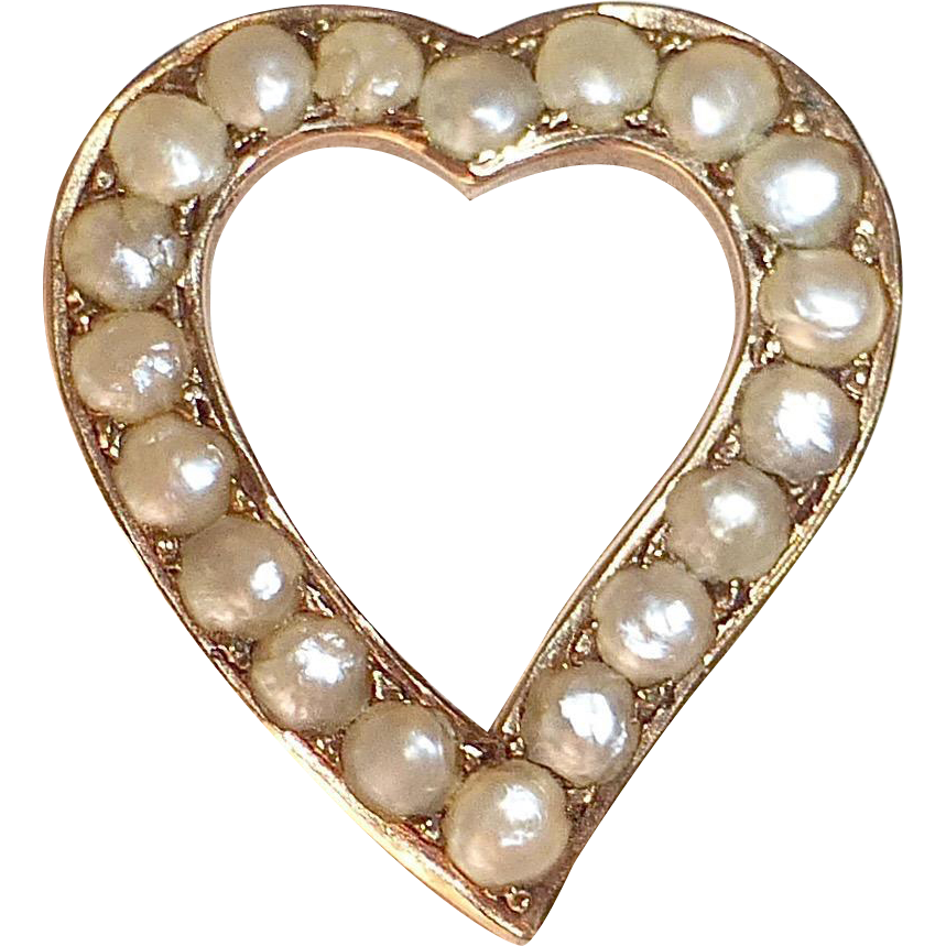 14k Victorian Pearl Studded Heart Pin