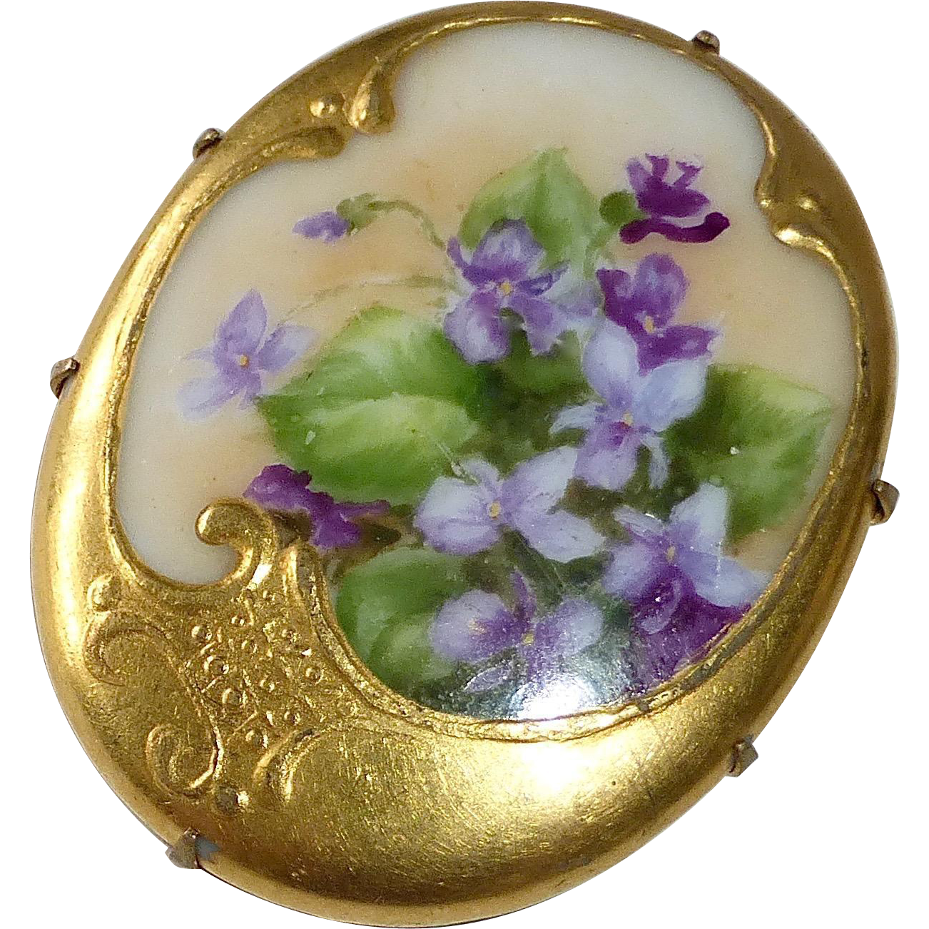 Victorian Large Hand Painted Porcelain Violets Brooch