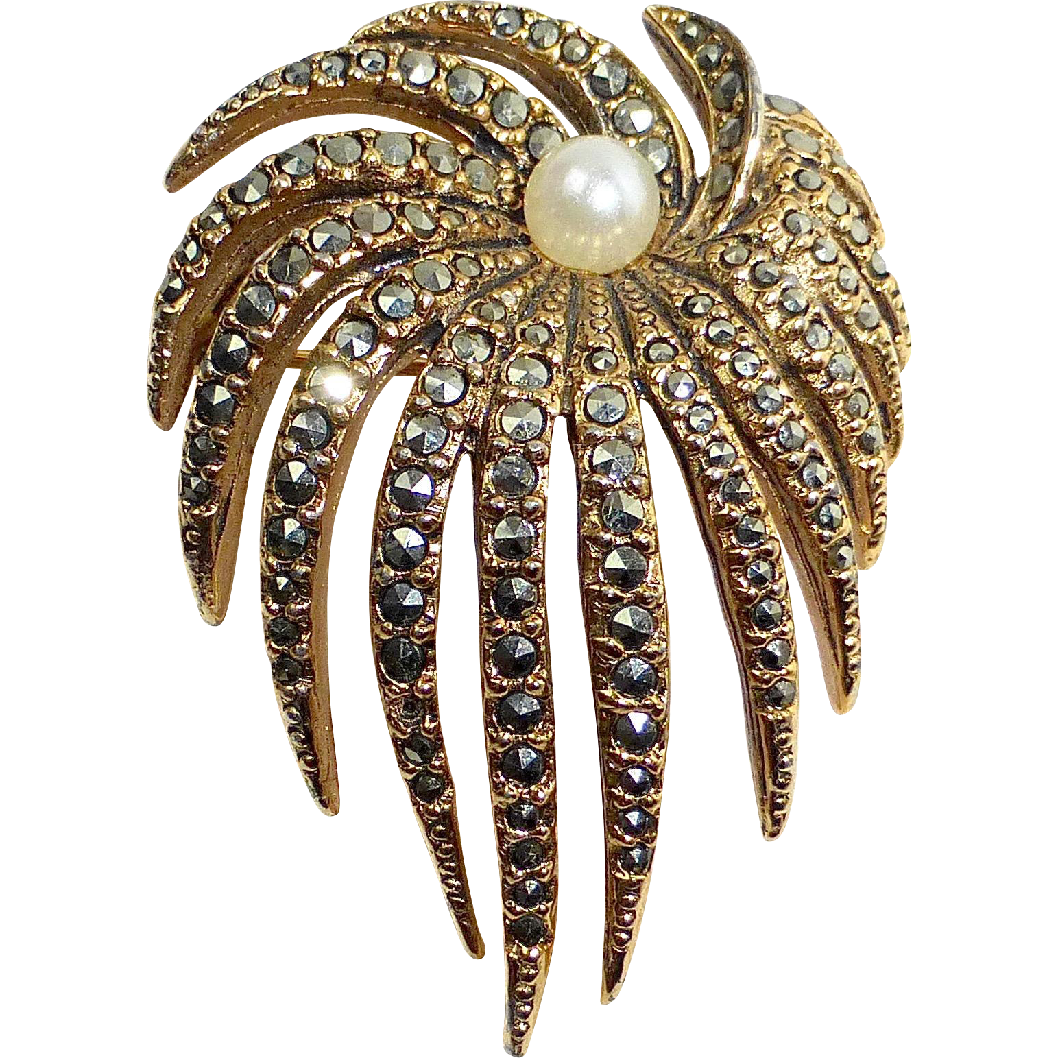 Vogue Gold Tone Faux Pearl & Marcasite Pin