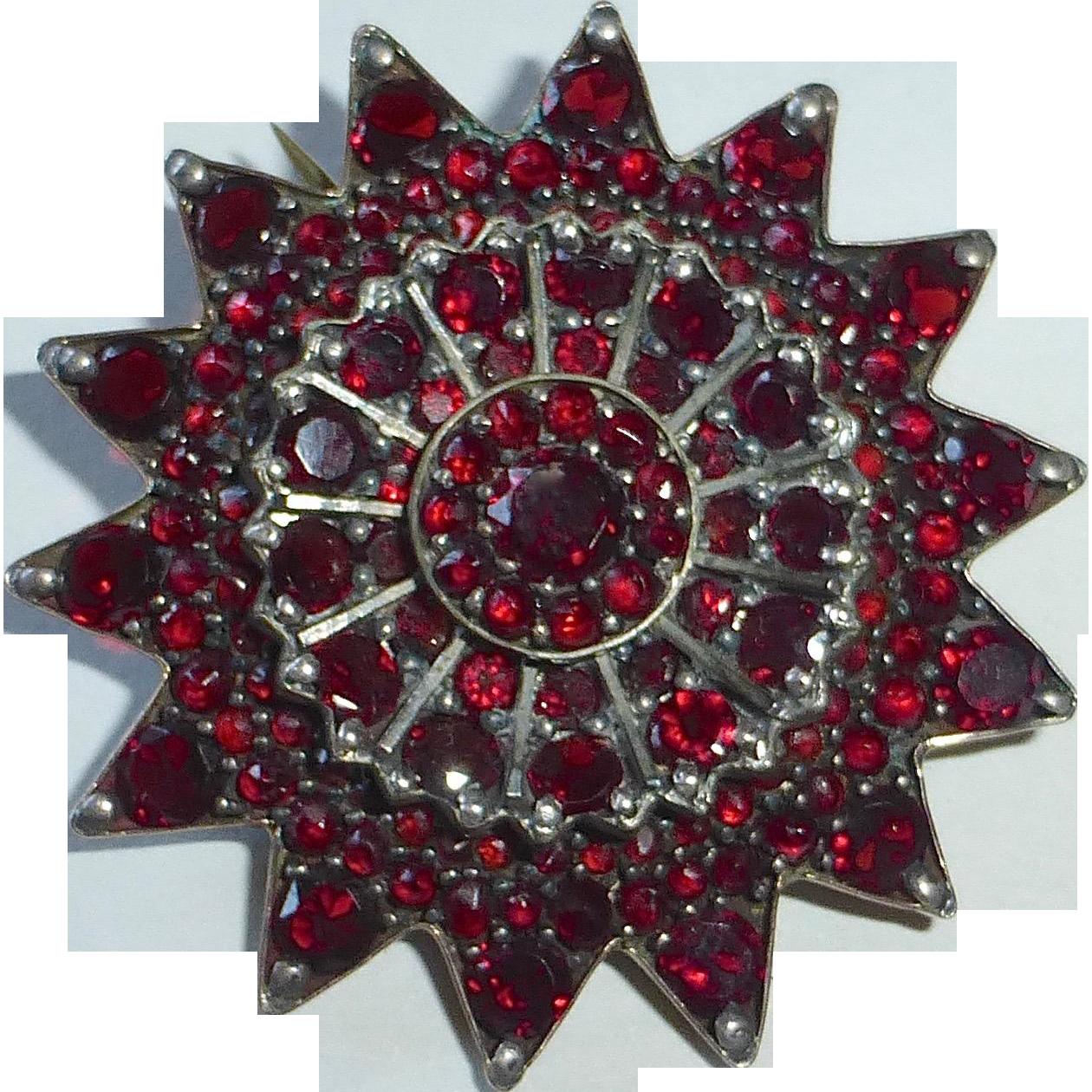 Victorian 800 Silver Garnet Star Pin