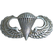 WWII Sterling Army Airborne Paratrooper Jump Wings Badge Pin