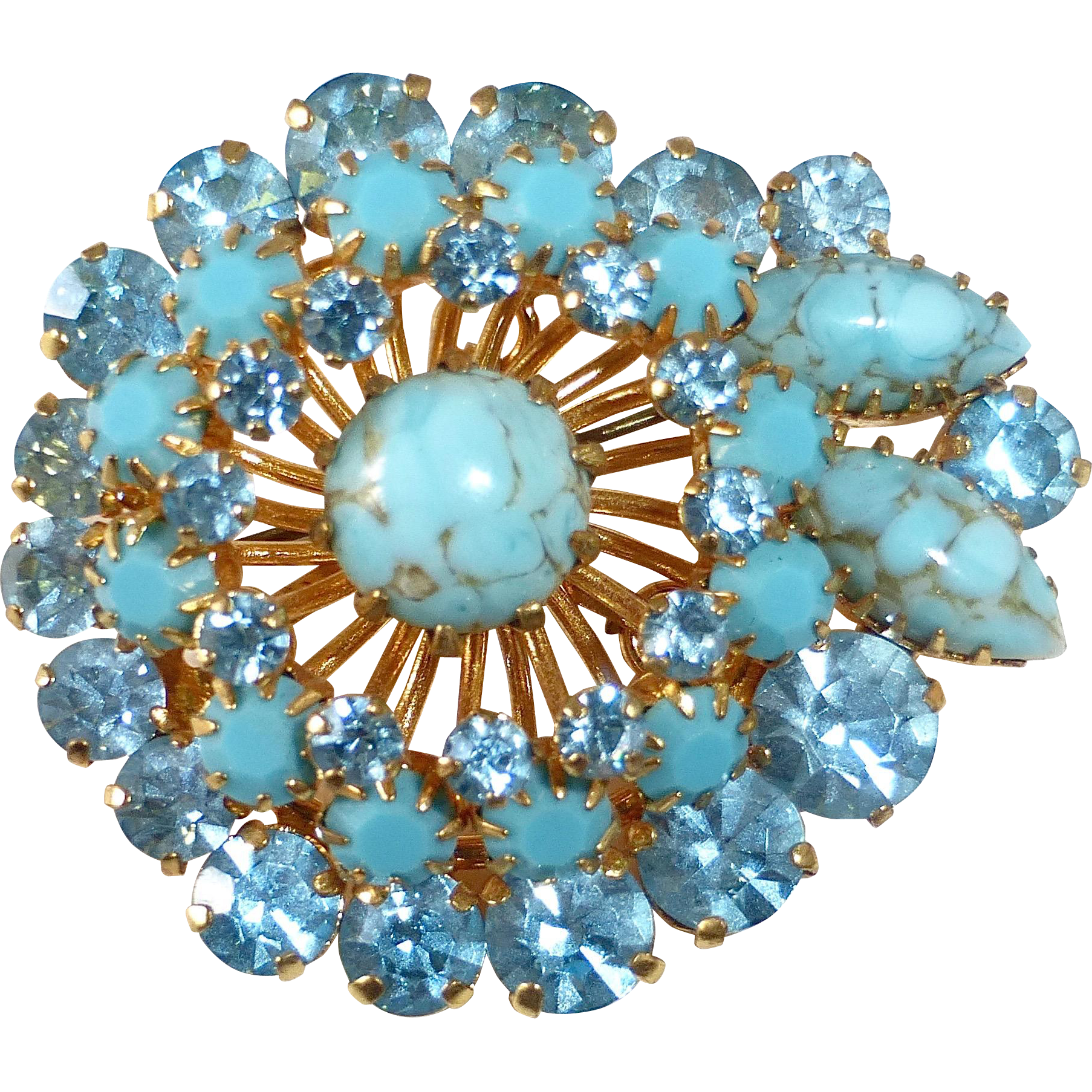 Art Glass Rhinestone Turquoise Opaque Glass Dazzling Mid Century Gold Tone Brooch