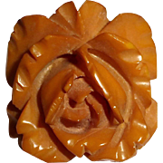 Carved High Relief Butterscotch Bakelite Rose Pin