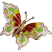Dimensional Filigree Butterfly 800 Silver Enamel Gold Wash