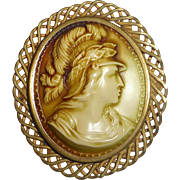 Large Celluloid Cameo Woven Brass Wire Frame