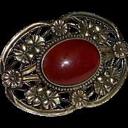 Symmetalic Sterling & Gold Filled Carnelian Pin