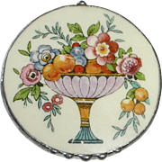 Ceramic Pottery Shard Pin Footed Dish of Fruit & Flowers