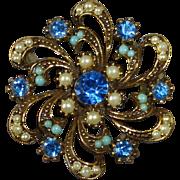 Gold Tone Blue Rhinestone & Faux Peal Swirl Pin