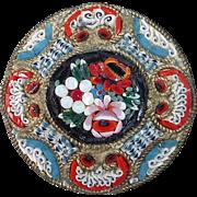 Italian Glass Mosaic & Brass Pin