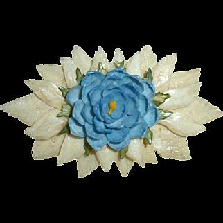Florida Souvenir Folk Art Shell Flower Pin c1940-50s