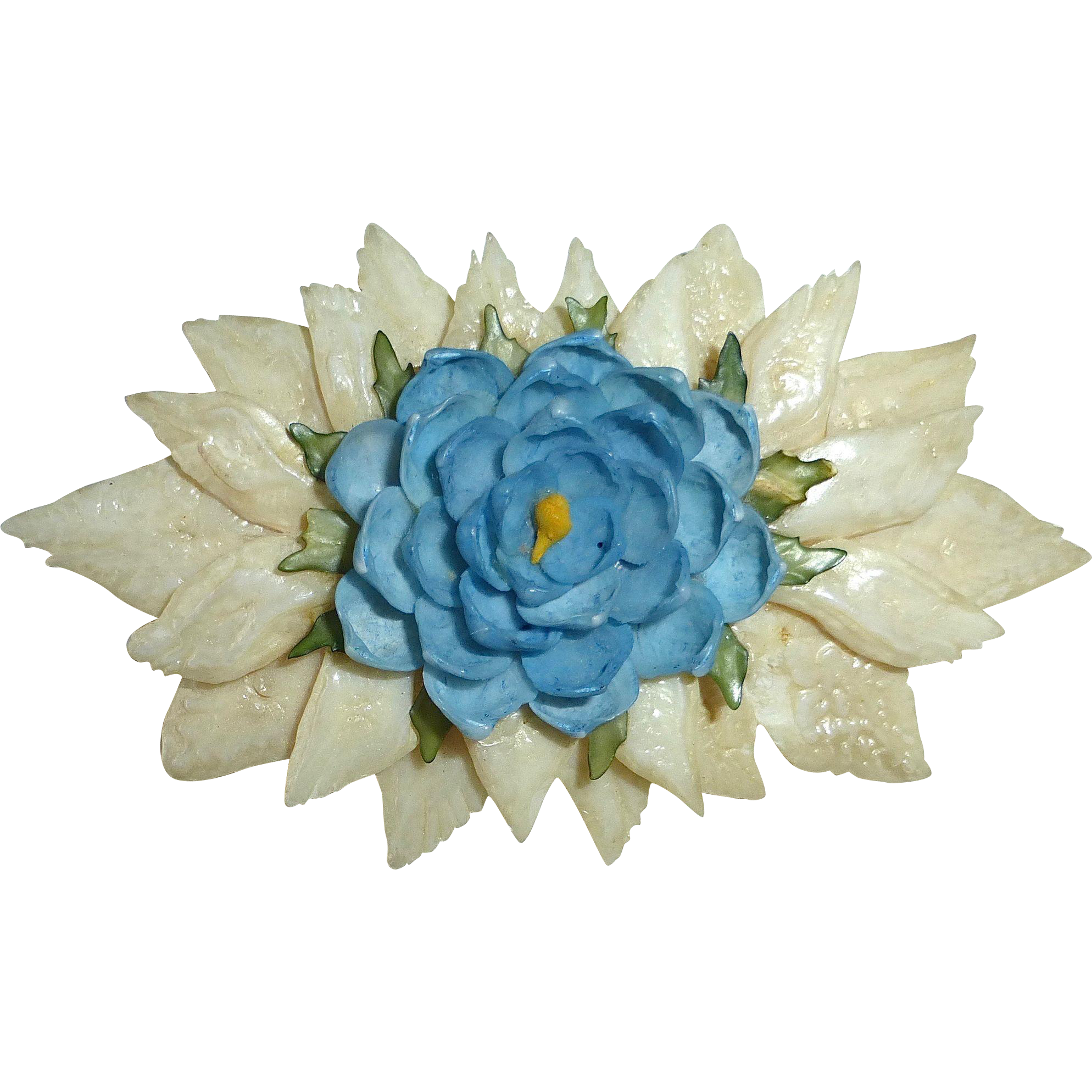 Florida Souvenir Folk Art Shell Flower Pin c1940-50s