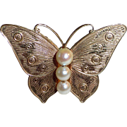 Gold Filled Butterfly Pin w Cultured Pearls
