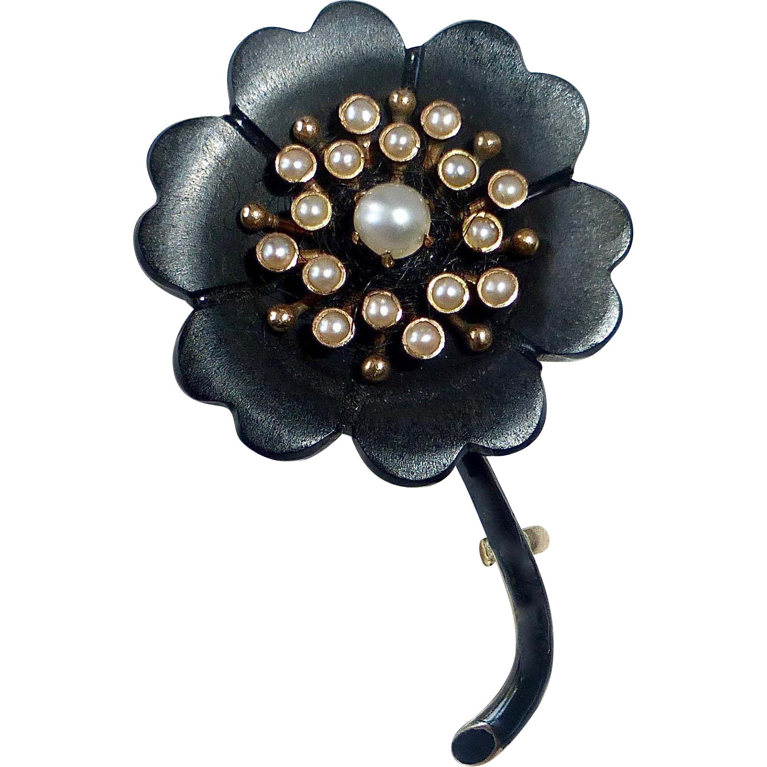 Victorian 14k Mourning Pin Onyx & Seed Pearls