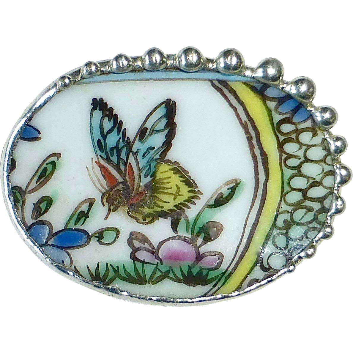 China Pottery Shard Butterfly in Flight Pin