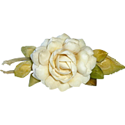 Florida Souvenir Folk Art Shell Cabbage Rose Flower Pin c1940-50s