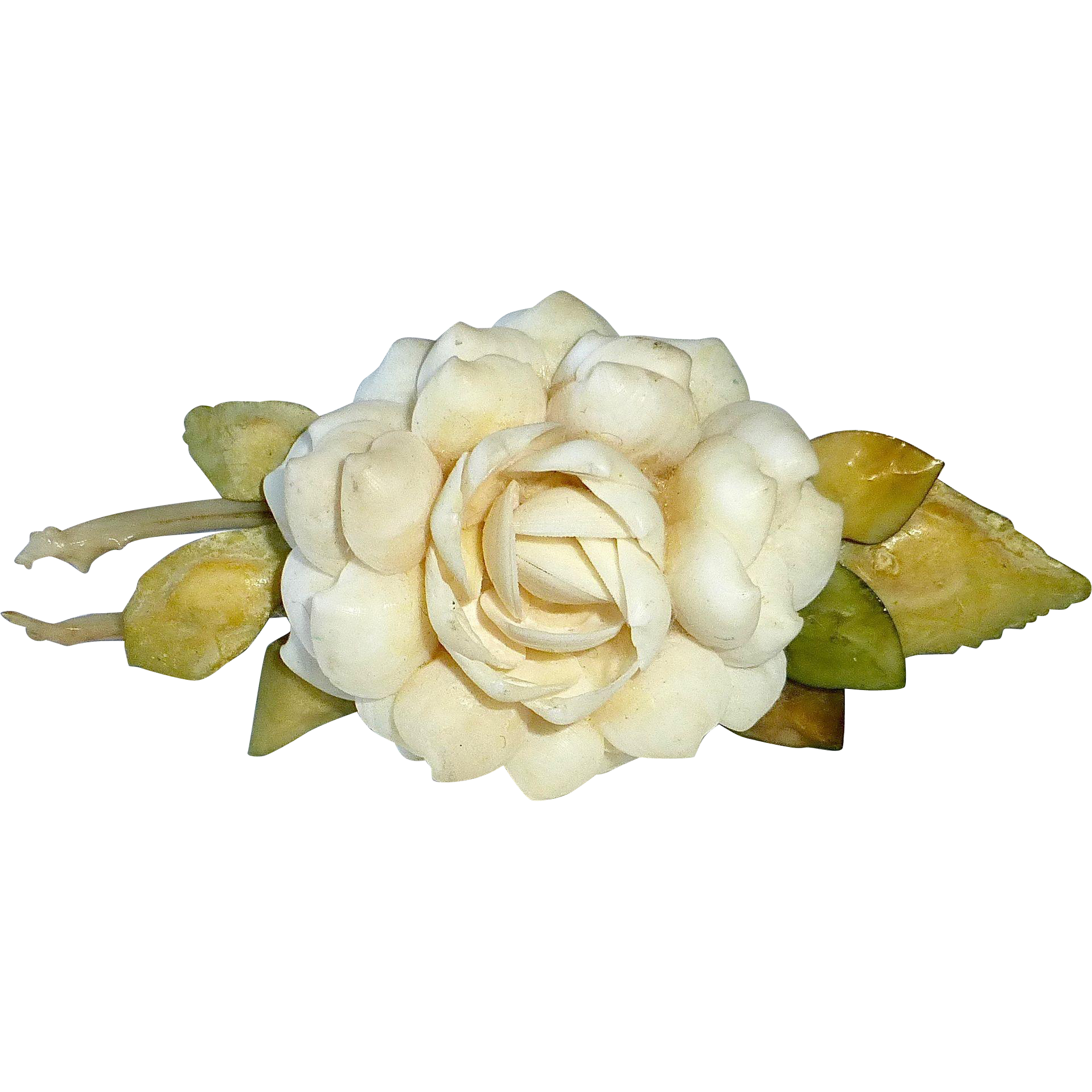 Florida Souvenir Folk Art Shell Cabbage Rose Flower Pin c1940-50s