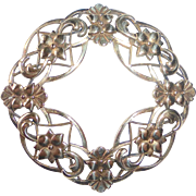 Symmetalic 14k on Sterling Domed & Entwined Curls & Flowers Circle Pin