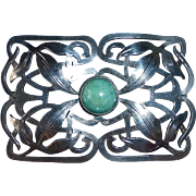 Arts & Crafts Sterling Sash Ornament Brooch w Amazonite