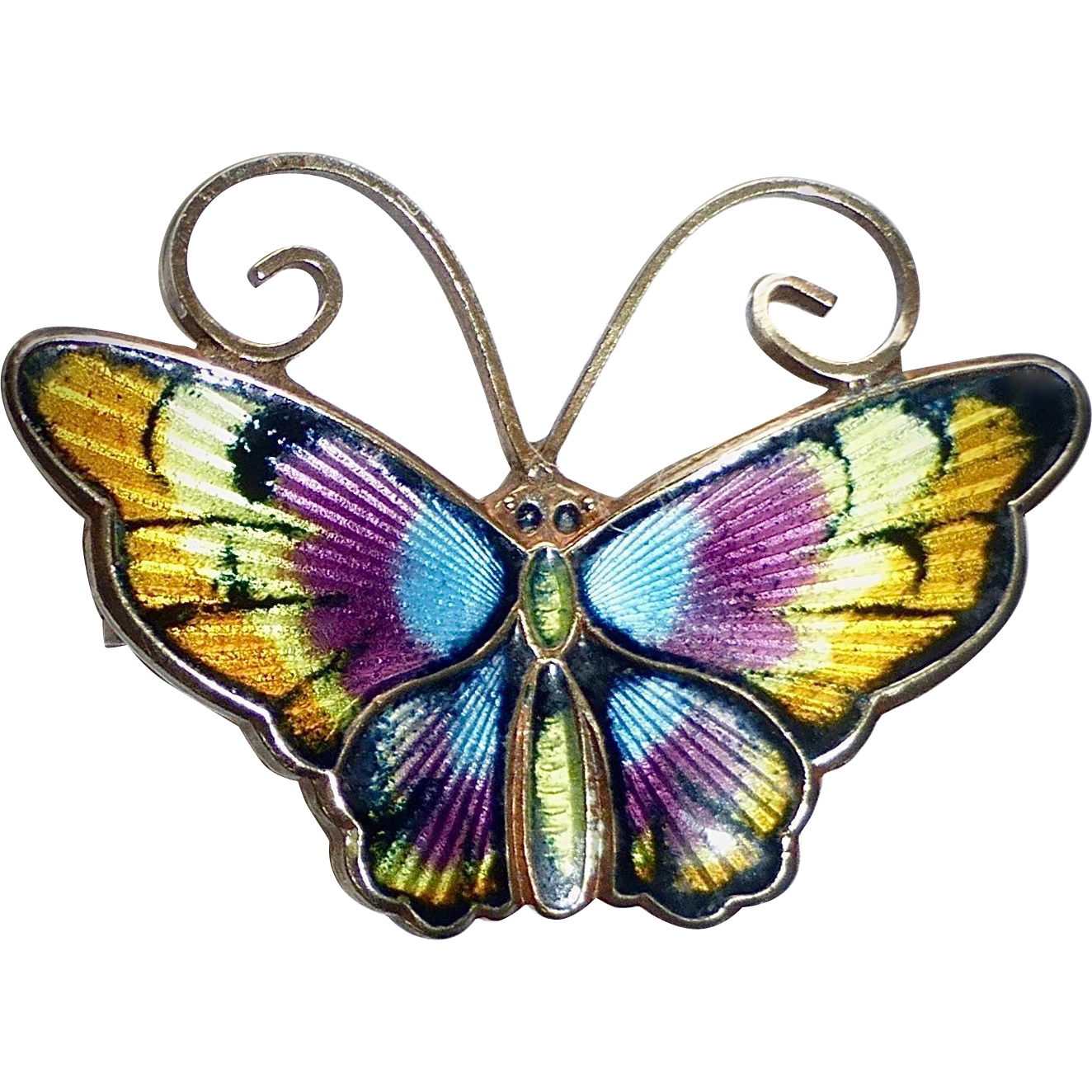 David Andersen Norway Sterling Enamel Butterfly Pin