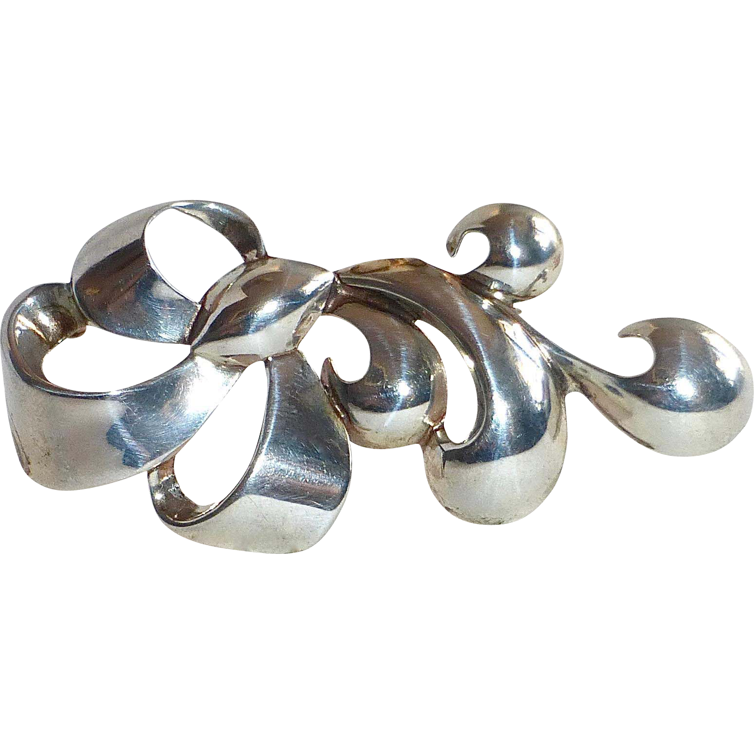Monet Sterling Art Moderne Sculptural Curls Pin