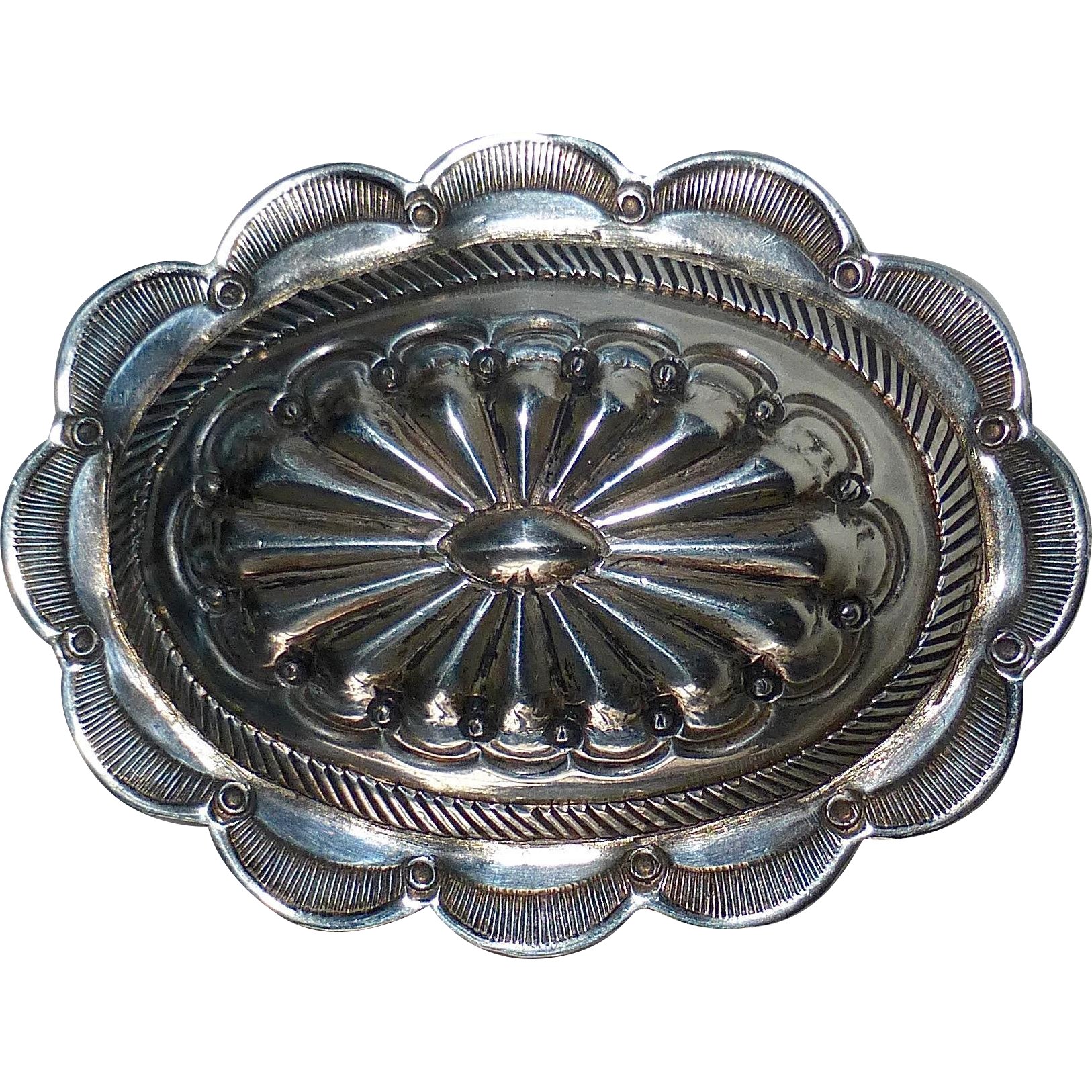Native American Navajo Sterling Large Concho Pin