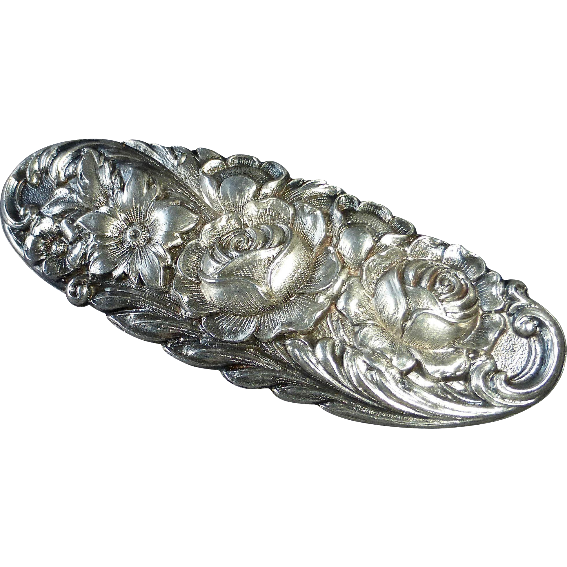 S Kirk & Son Ornate Sterling Floral Pin