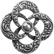 WRE Sterling Embossed Swirling Circles Pin