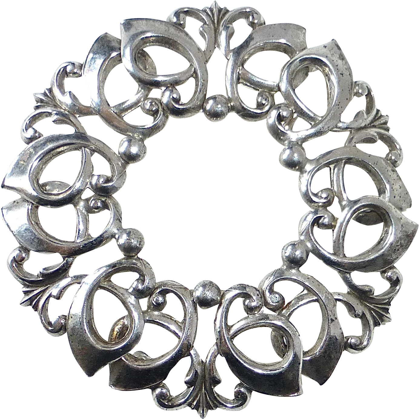 WRE Sterling Domed & Entwined Curls Circle Pin