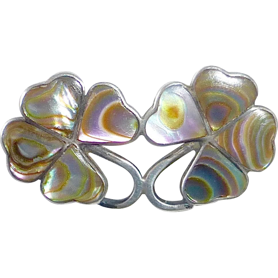 Sterling Inlaid Abalone Double Four Leaf Clover Good Luck Pin