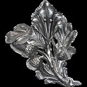 Large Sterling Sculptural Pin Acorns & Oak Leaves