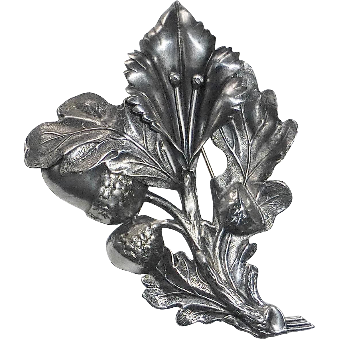 Large Sterling Sculptural Pin Acorns & Oak Leaves
