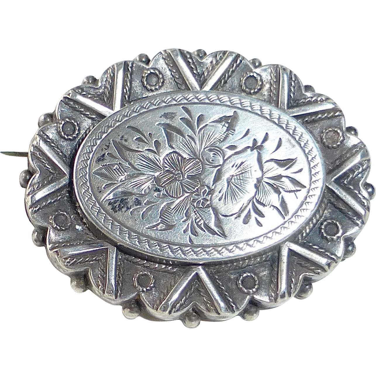 Antique Sterling Aesthetic Movement Brooch
