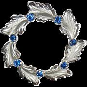 Sterling Leaf Circle Pin Blue Rhinestones