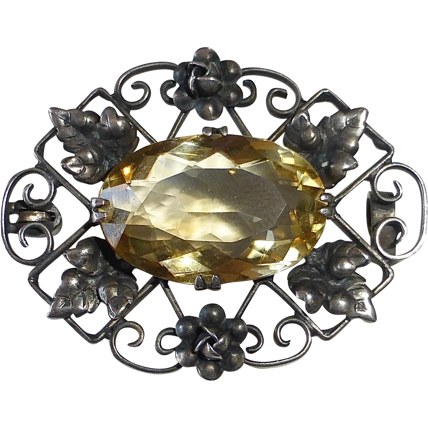 Arts & Crafts Handcrafted Sterling Pin w Sparkling Citrine