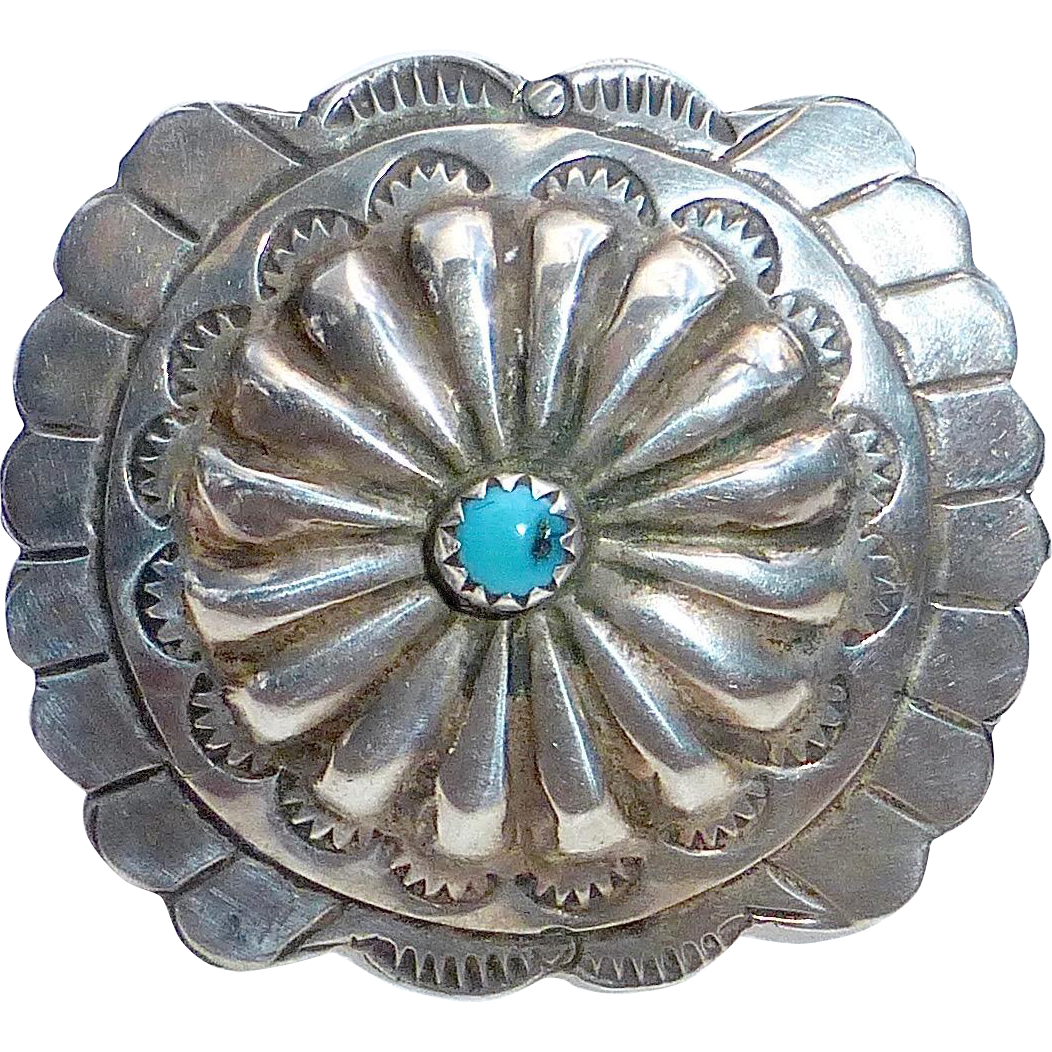 Native American Sterling Concho Pin w Turquoise