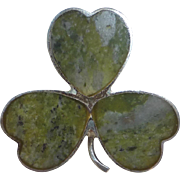 Sterling & Connemara Irish Marble 3 Shamrock Clover Pin Edinburgh Hallmark