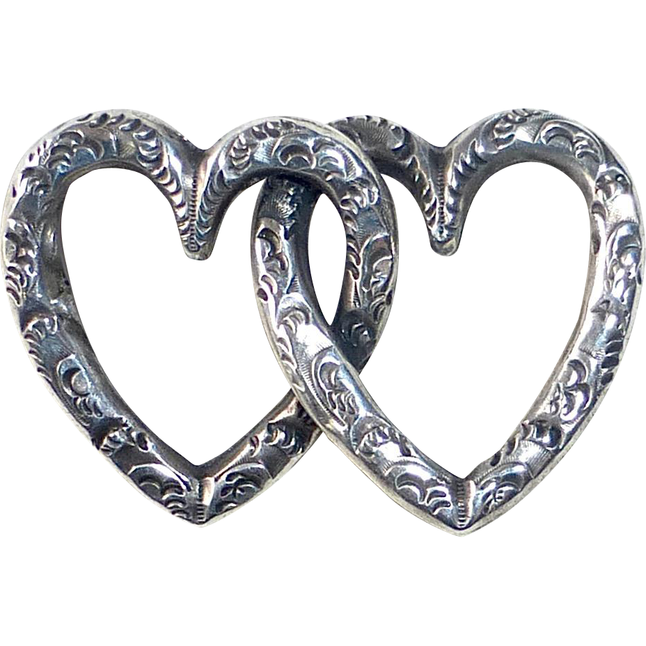 Victorian Embossed Entwined Double Hearts Pin